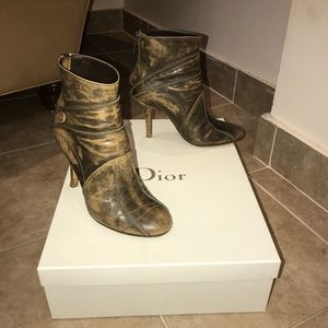 Christian Dior Army Leather Ankle Boots Size 35.5